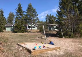 Sandbox and swings